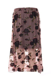 Embroidered Mesh Floral Print Long Skirt Pink Color Elastic In Waistband
