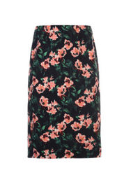 Polyester Flower Print Ladies Fashion Skirts Knee Length Skirts In Spring / Summer
