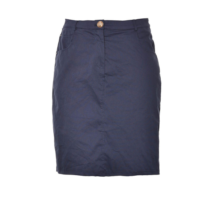 Jean Blue Slim Fit Skirt , High Waist Pencil Skirt With One Gold Button Closure