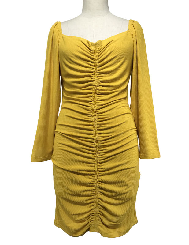 Sexy Long Sleeve Custom Women' Dresses Square Neck Rib Dresses Apricot Color